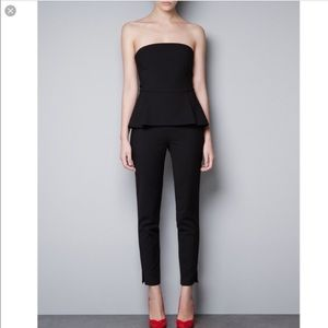 ZARA Peplum Strapless Pants Jumpsuit Black XS